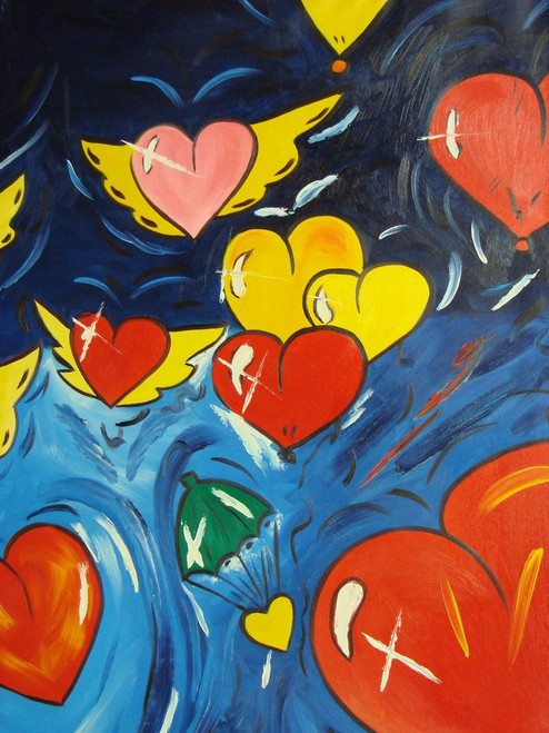 Modern / abstract oil painting, stretched canvas but without frame, signed by McCoy.  Red, yellow and pink hearts fly over a background of light blue and dark blue in this medium sized painting.