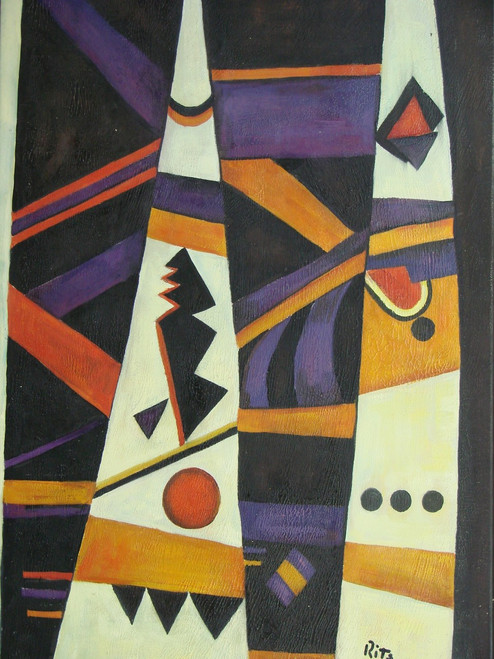 Modern / abstract oil painting, stretched canvas but without frame, signed by Ritz.  Purple, black, orange and cream colored shapes overlap each other in this medium sized painting.