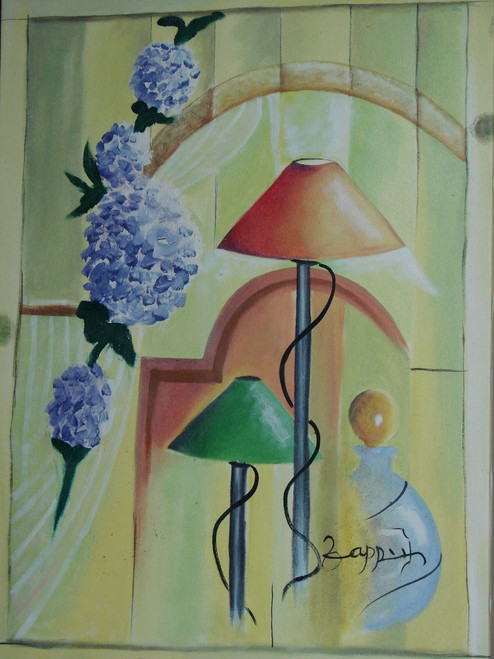 Modern / abstract oil painting, stretched canvas but without frame, signed by Zappe.  Lavender colored flowers hang over lamps with green and brown shades in this medium sized painting.
