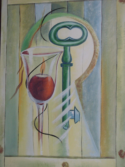 Modern / abstract oil painting, stretched canvas but without frame, unsigned.  A glass holding a dark red candle sits next to a large, light green key in this medium sized painting.