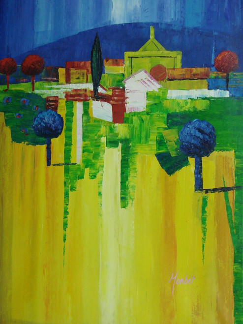 Modern / abstract oil painting, stretched canvas but without frame, signed by Monbet.  In an abstract landscape of yellow and green, trees of blue and red grow near a building with a deep blue sky.