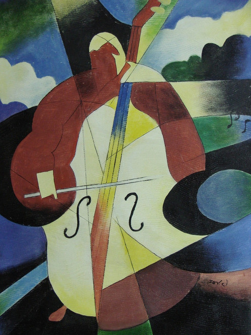 Modern / abstract oil painting, stretched canvas but without frame, signed by Zev D..  A medium sized painting of a person playing the cello with an abstract blue and green background.