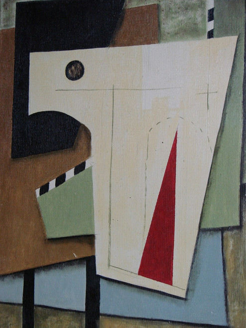 Medium modern / abstract oil painting, stretched canvas but without frame, signed by Wally.  Abstract shapes of cream, brown, light green and red overlap one other in this painting.