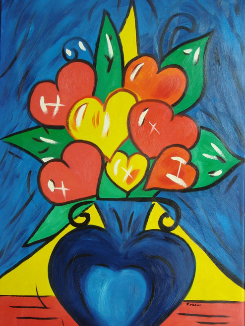 Medium modern / abstract oil painting, stretched canvas but without frame, signed by McCoy.  Red and yellow heart shaped flowers fill a blue vase and sit on a table with a deep blue and yellow background.