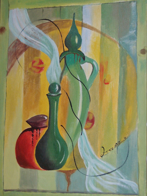 Medium modern / abstract oil painting, stretched canvas but without frame, signed by Zappe.  Light green vases and a rust colored pot sit on a table with a light-yellow, wooden background.