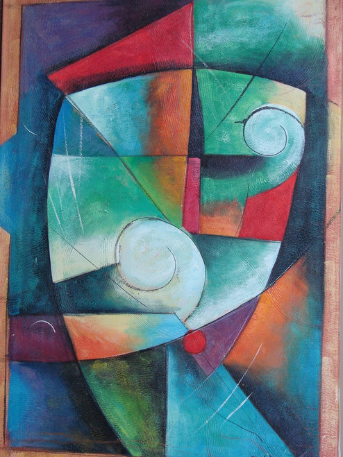 Modern / abstract oil painting, stretched canvas but without frame, signed by Zev D..  Shades of blue, green, teal and light red overlap each other in triangles, squares and circles in this medium sized painting.