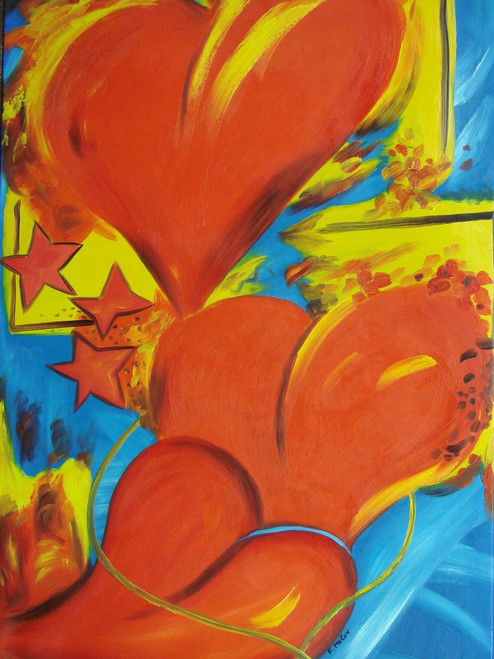 Medium modern / abstract oil painting, stretched canvas but without frame, signed by McCoy.  Large red hearts with yellow highlights cover a bright blue background.