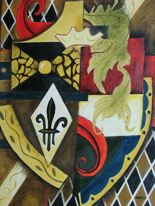 Modern / abstract oil painting, stretched canvas but without frame, signed by Zev D..  This medium sized painting is of an abstract black and gold shield with red details and tan leaves.