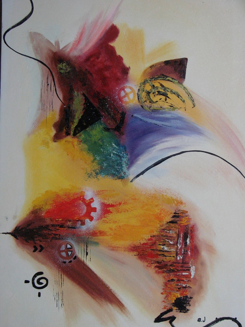 Modern / abstract oil painting, stretched canvas but without frame, signed by B. J..  Red, orange, yellow and blue brush strokes flow together in this medium sized abstract.