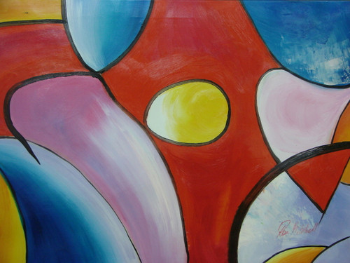 Modern / abstract oil painting, stretched canvas but without frame, signed by Ron Mitchell.  Abstract shapes of red, blue, lavender and yellow come together in this medium sized painting.