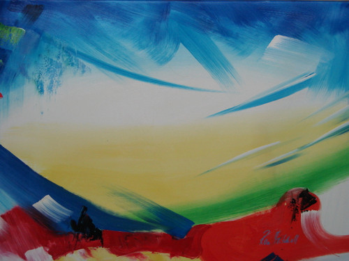 Modern / abstract oil painting, stretched canvas but without frame, signed by Ron Mitchell.  A medium white canvas contains large brush strokes of light blue, yellow and red that are accented by green and black.