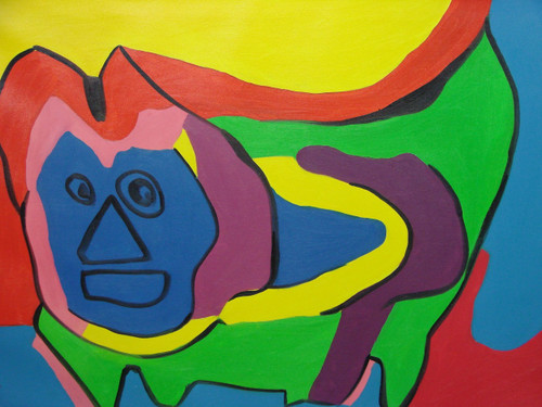 Modern / abstract oil painting, stretched canvas but without frame, signed by Ron Mitchell.  An abstract face emerges from bright green, blue, yellow and red shapes on this medium sized canvas.