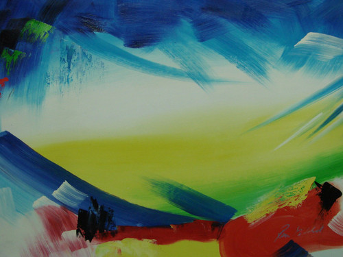 Modern / abstract oil painting, stretched canvas but without frame, signed by Ron Mitchell.  Blue, white and yellow brushstrokes are accented by red and green.