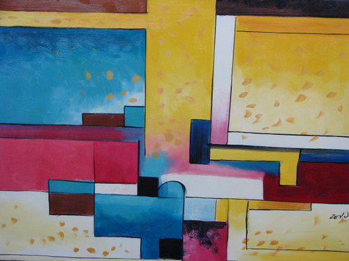 Modern / abstract oil painting, stretched canvas but without frame, signed by Zev D..  Abstract pink, blue and yellow rectangles overlap each other on a medium sized canvas.