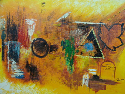 Modern / abstract oil painting, stretched canvas but without frame, signed by Peter.  A medium sized orange canvas is splashed with blue, white, red, black and green paint and symbols.