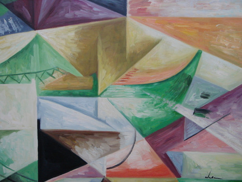 Modern / abstract oil painting, stretched canvas but without frame, signed by Newman.  Abstract triangles of light green, purple, beige and blue fill a medium sized canvas.