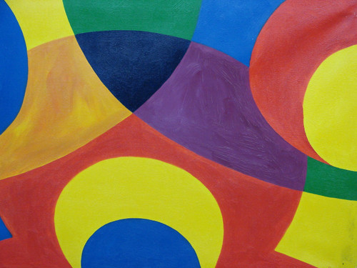 Modern / abstract oil painting, stretched canvas but without frame, signed by San.  Red, yellow, blue and green circles overlap each other in this medium sized painting.