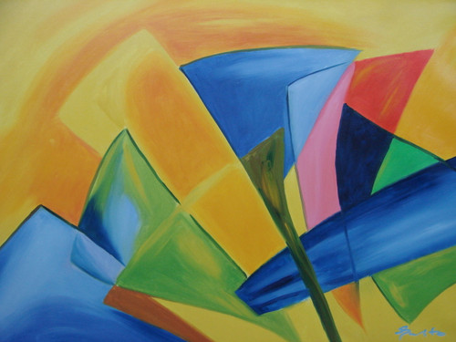 Modern / abstract oil painting, stretched canvas but without frame, signed by Santo.  Abstract cones of blue, pink, orange and green sit in front of an orange background.