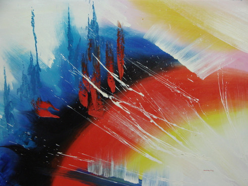 Modern / abstract oil painting, stretched canvas but without frame, signed by Wally.  Arched red, blue and white brushstrokes are accented by black and yellow.