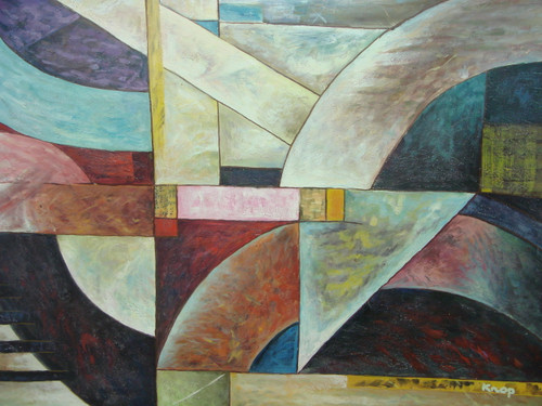 Modern / abstract oil painting, stretched canvas but without frame, signed by Knop.  Colorful geometric shapes overlap each other in this medium sized painting.