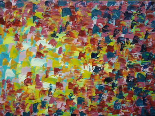 Modern / abstract oil painting, stretched canvas but without frame, signed by Ron Mitchell.  Short brushstrokes of light blue, yellow and pink transition to red, dark blue and dark pink.