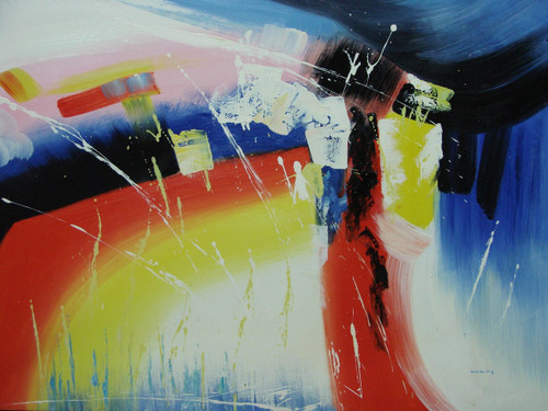 Modern / abstract oil painting, stretched canvas but without frame, signed by Wally.  Red, yellow, white, blue and black colors overlap each other in this medium sized painting.