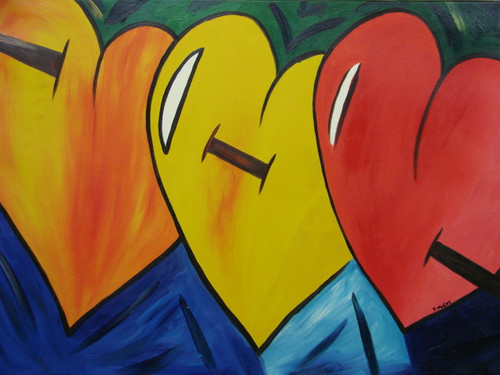 Modern / abstract medium sized oil painting, stretched canvas but without frame, signed by McCoy.  Three large, red, yellow and orange, hearts fill a dark blue canvas.