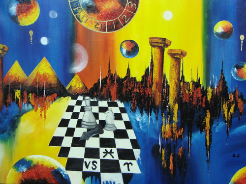 Modern / abstract medium sized oil painting, stretched canvas but without frame, signed by B. J..  A bright blue and yellow background is covered in a chess set, pyramids and planets.
