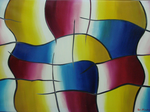 Modern / abstract medium sized oil painting, stretched canvas but without frame, signed by Ron Mitchell.  Abstract squares of bright blue, yellow and purple are out lined in black.