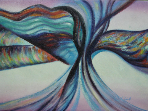 Modern / abstract oil painting, stretched canvas but without frame, signed by Ron Mitchell.  Brushstrokes of blue, teal and red swirl together with accents of black, purple, pink and yellow colors.