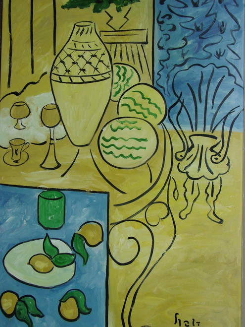 Modern / abstract medium sized oil painting, stretched canvas but without frame, signed by Hali.  A table is filled with fruit, cups and vases on a mustard yellow background.