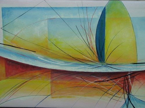 Modern / abstract oil painting, stretched canvas but without frame, signed by Ron Mitchell.  Shades of red, yellow and blue overlap each other in this medium sized painting.