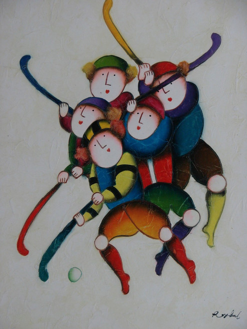 Small oil painting, stretched canvas but without frame, signed Roybal.  A group of children play hockey together in colorful uniforms.