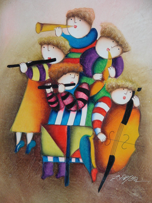 Small oil painting, stretched canvas but without frame, signed Roybal.  A group of children play musical instruments together.