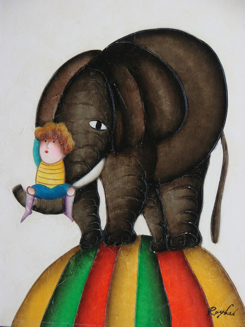 Small oil painting, stretched canvas but without frame, signed Roybal.  A child rides on the trunk of an elephant.