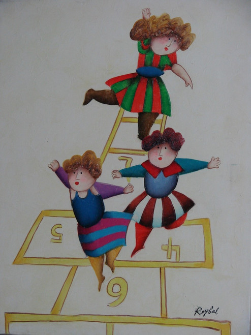 Small oil painting, stretched canvas but without frame, signed Roybal.  A group of children play hopscotch together.
