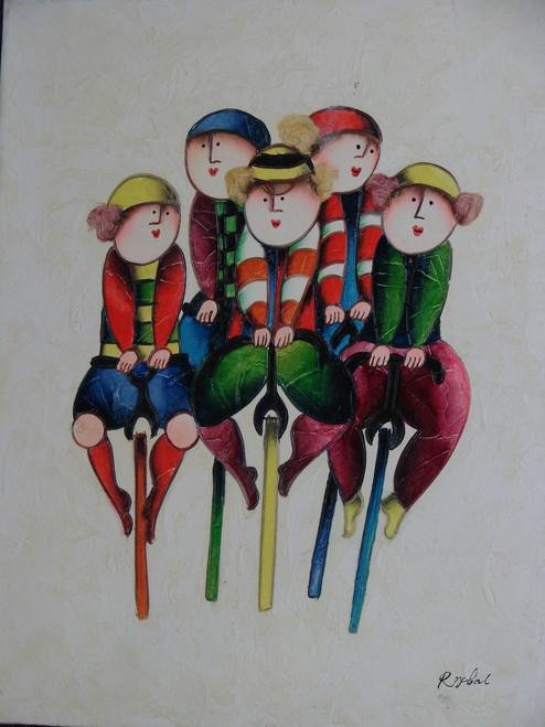 Small oil painting, stretched canvas but without frame, signed Roybal.  A group of children ride their bicycles together.