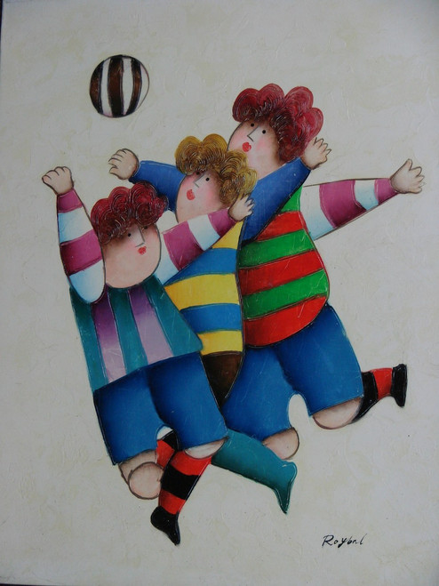 "Small oil painting, stretched canvas but without frame, signed Royba"".  Three children run and jump after a striped ball."