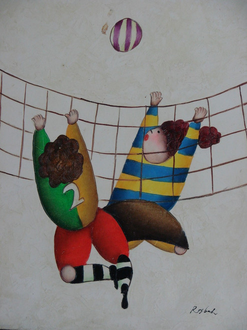 Small oil painting, stretched canvas but without frame, signed Roybal.  Children play volleyball in colorful uniforms.