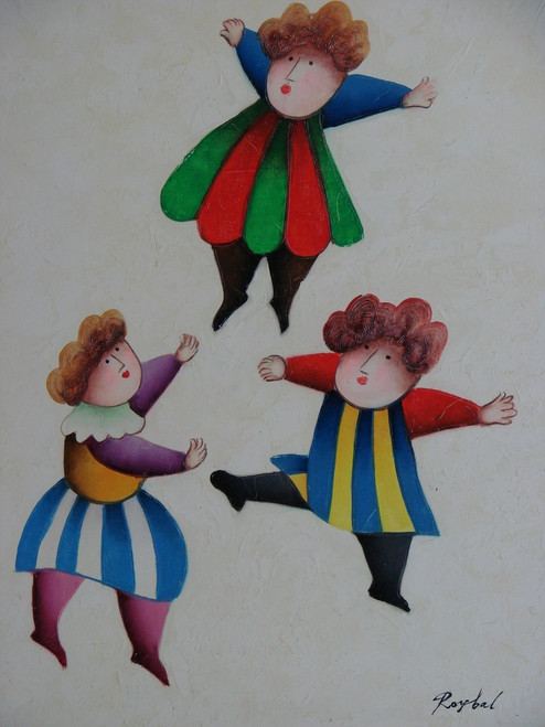Small oil painting, stretched canvas but without frame, signed Roybal.  Three children in colorful dresses dance and play together.