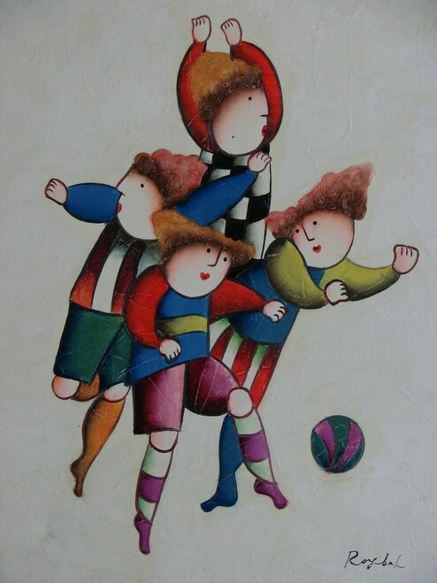 Small oil painting, stretched canvas but without frame, signed Roybal.  Children play soccer in colorful uniforms.