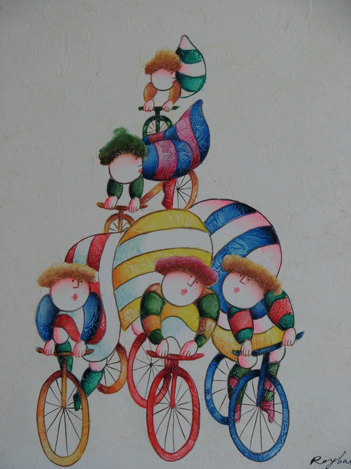 Small oil painting, stretched canvas but without frame, signed Roybal.  Children ride colorful bicycles in striped clothing.