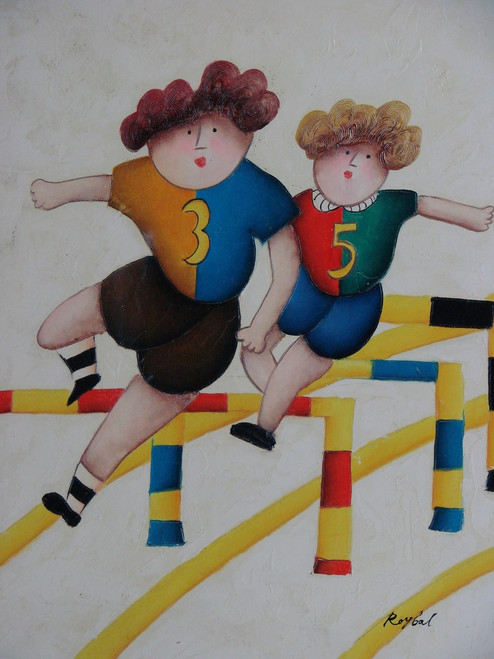 Small oil painting, stretched canvas but without frame, signed Roybal.  Children jump hurdles in colorful uniforms.