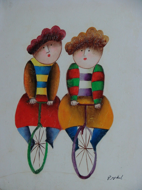 Small oil painting, stretched canvas but without frame, signed Roybal.  Twins ride unicycles in colorful outfits.