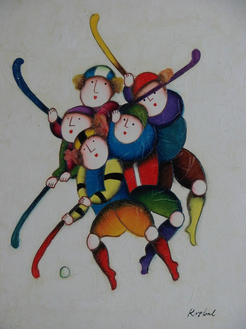 Small oil painting, stretched canvas but without frame, signed Roybal.  A group of children play hockey in colorful uniforms.