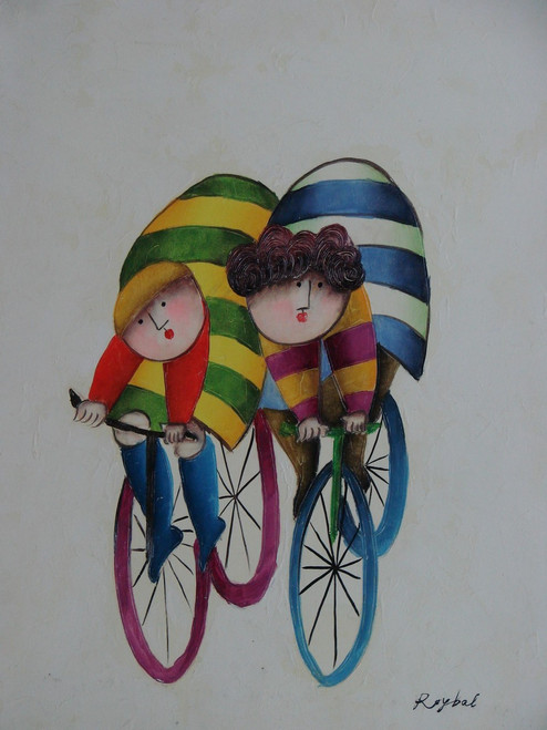 Small oil painting, stretched canvas but without frame, signed Roybal.  A pair of children ride bicycles dressed in colorful clothes.