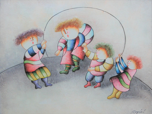 Small oil painting, stretched canvas but without frame, signed Roybal.  Children jump rope in colorful clothing.
