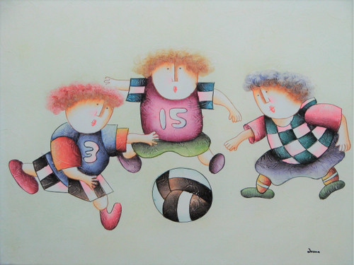 Small oil painting, stretched canvas but without frame, signed Jason.  Children play soccer with a referee.