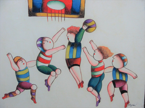 Small oil painting, stretched canvas but without frame, signed Roybal.  A group of children play basketball.