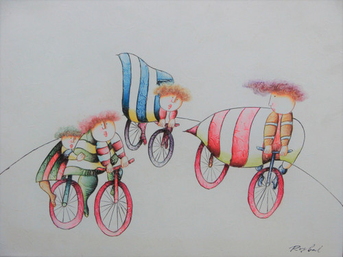 Small oil painting, stretched canvas but without frame, signed Roybal.  A group of children ride bicycles in colorful striped clothing.